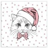Unbekannt 20 Weihnacht Servietten Weihnachtskatze rosa, dreilagig, 33 x 33 cm