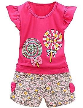 Mädchen Kleider Set, SHOBDW 2PCS Kleinkind scherzt Baby-Mädchen-Ausstattungs-Lutschbonbon-T-Shirt Tops + kurze...