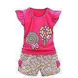 Riou 2 STÜCKE Kleinkind Kinder Baby Mädchen Outfits Lolly T-Shirt Tops + Kurze Hosen Kleidung Set (100, Pink)