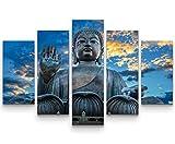 5 teiliges Wandbild auf Leinwand (Gesamtmaß: 150x100cm) Großer Buddha Tempel in Hong Kong