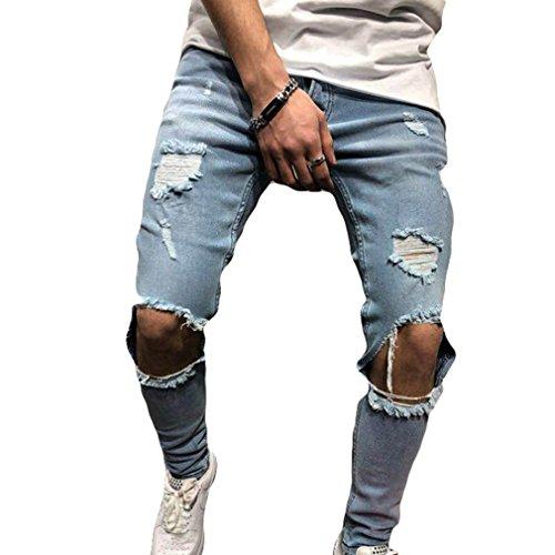 Junkai jeans denim skinny fit elasticizzati da uomo jeans skinny strappati sfilacciati stretch sfilacciati taglie s-3xl (eu s=etichetta m, azzurro)