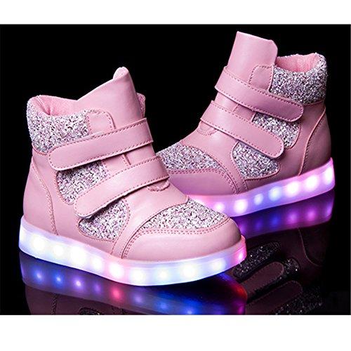 Leuchtschuhe High Top USB Aufladen Led Schuhe 7 Farben Farbwechsel Sneakers Blinkschuhe für Kinder Mädchen Jungen Rosa