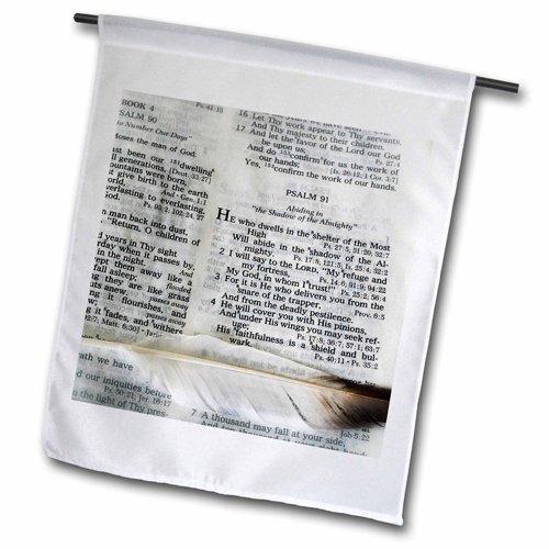 3dRose FL_44028_1 Foto Einer Bibel, offen für Psalm 91 und markiert mit großer Feder-Gartenflagge, 30,5 x 45,7 cm