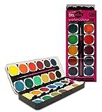 Mont Marte Wasserfarben Set - 26-teilig - Brillante Farben - Hohe Pigmentierung - Deckfarbkasten Ideal für Aquarellmalerei - Perfekt Geeignet für Anfänger und Schüler