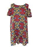 Robe Courte Épaule Dénudée Manches Courtes Wax Léger Rouge Bleu Marron T. 40/42