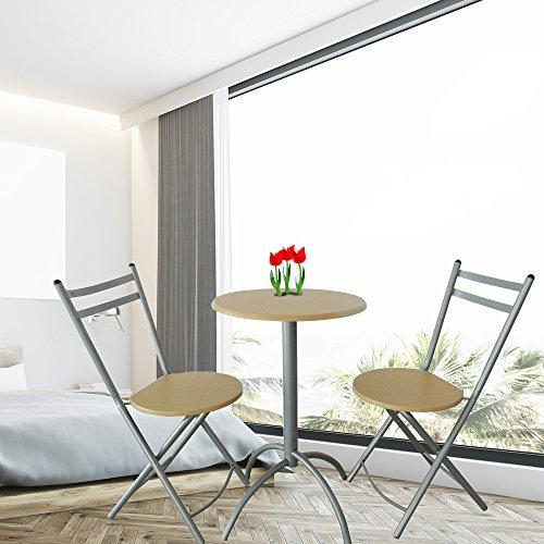 Bistro-klappstühle (Style home Essgruppe Küche Balkon Esszimmer Bistro Tisch mit zwei Klappstühlen Holz Silbergrau MDF Metall SH06E03004-HGR)
