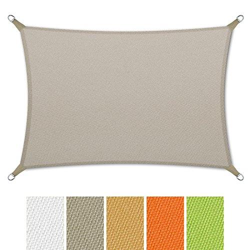 casa pura Sonnensegel wasserabweisend imprägniert | Rechteck | Testnote 1.4 | UV Schutz | verschiedene Farben und Größen (grau, 3x5m)