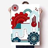 DIYthinker Kontrast-Colour Gear Clock House Illustration Vinylwand-Aufkleber-Plakat-Wand Tapete Raum Aufkleber 80X55Cm 80Cm X 55Cm Mehrfarbig