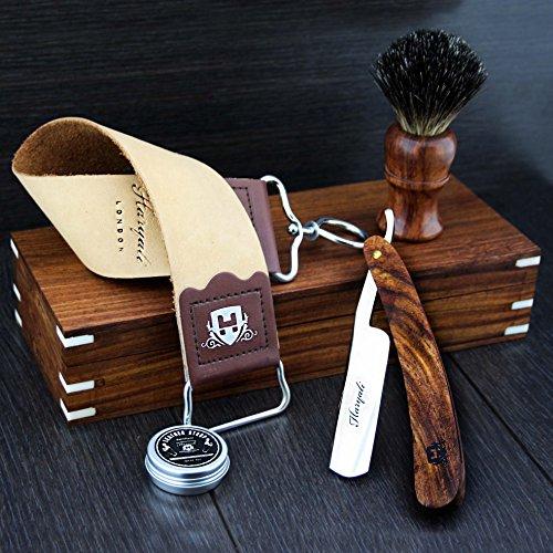 Kit de rasage barbier avec rasoir coupe-chou droit assembléà la main collection classique vintage dans coffret en bois avec blaireau à poils noirs naturels et sangle à cuir de vache havane et pâte DOVO après-rasage de luxe 5 pièces