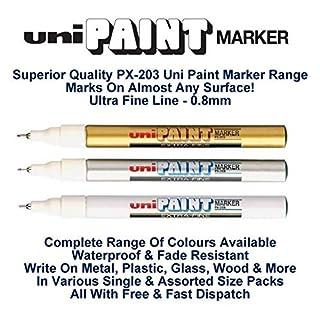 Uni Farbige extrafein (0,8 mm) PX-203 farblich sortiertes Set Öl Paint Marker Metall Glas Wood Plastic Stone OUTDOOR Schreibspitze Feder (1 Stück pro Farbe - GOLD SILBER WEISS -3 Stifte)