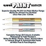 Uni de couleur Extra Fine (0.8mm) Px-203Couleur Assortis Lot marqueur de peinture à l'huile en métal Verre plastique bois Pierre Extérieur Pointe (1de chaque couleur–Or blanc Argent -3Pens)