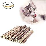AIDIYA - Bastoncini di erba gatta da masticare per gatti in acitinidia polygama 100% organica, giocattoli olfattivo di arricchimento per il gatto, confezione da 20 pezzi