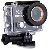 Romax Action Camera Pro 4 Sports Action Camera 20 Megapixel 4K Ultra HD Video Recording Water Proof Action Camera with External Mic Output 3.5mm