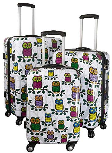 Kofferset Gepäckset Polycarbonat ABS Hartschalen Koffer 3tlg. Set Trolley Reisekoffer Reisetrolley Handgepäck Boardcase PM (Eule)