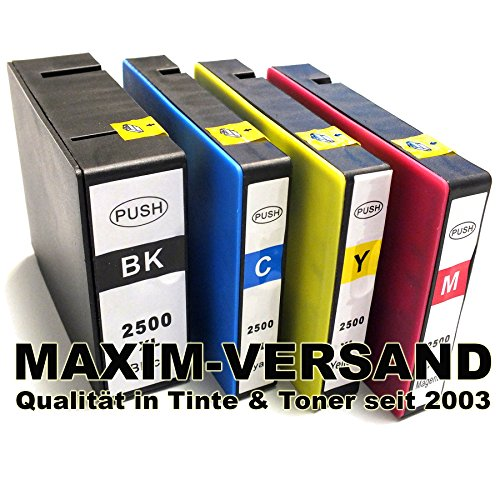 Preisvergleich Produktbild 4x MAXIMPRINT XXL Canon Multipack PGI-2500 XL BK C Y M Tinten-Patronen SET mit Tintenfüllstandsanzeige kompatibel (KEIN Original)