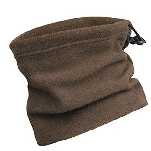 Fletion - Cuello polar (para actividades al aire libre, unisex, calentador para el cuello, 3 en 1, térmico), café