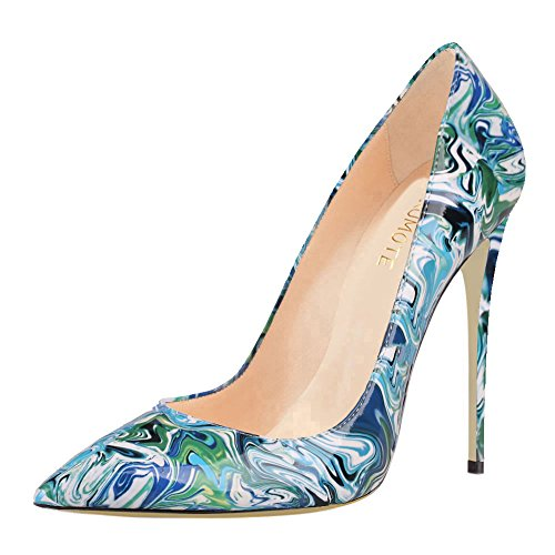 MERUMOTE Damen Y-046 Mode Druck Pointed-toe Kleid Pumpen Schuhe Stilettos Heels EU 35-46 Blau