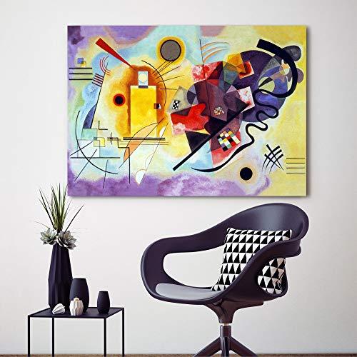 Kandinsky - Jaune Rouge Bleu Cadre moderne XXL déjà châssis 100 x 70 cm impression sur toile auteurs Art Maison Bureau Chambre Lit Salon Hotel tableaux modernes imprimés canvas