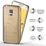 moex Samsung Galaxy S5 Mini | Hülle Silikon Gold Brushed Back-Cover TPU Schutzhülle Ultra-Slim Handyhülle für Samsung Galaxy S5 Mini Case Dünn Silikonhülle Rückseite Tasche Test