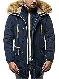 OZONEE Herren Winterjacke Wärmejacke Parka Parkajacke Militärstil Mantel Coat Jacke Sportjacke Kapuzenjacke J.Boyz X1045K DUNKELBLAU L