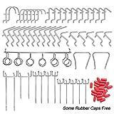 YZNlife Ganchos para tablero de clavijas, surtidos, 50 unidades, sistema de ganchos de almacenamiento, juego de ganchos para herramientas para tablero de clavijas de 1/8 pulgadas 1/4 pulgadas