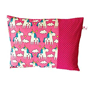 """TryPinky® Kissenbezug 30 X 40 cm"""" Einhörner Pink Punkte"""" Reisekissen Kinderkissen Einschlafkissen Babykissen Taufe Kissenhülle 100% Baumwolle BW"""