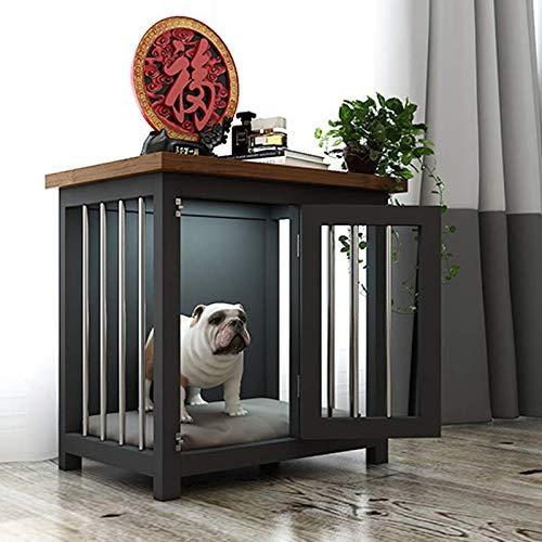Recinzione dell'animale domestico, legno massello + letto per gatti in acciaio inossidabile/gabbia per cani piccola e media - con luce (luce calda), 4 colori / 2 dimensioni