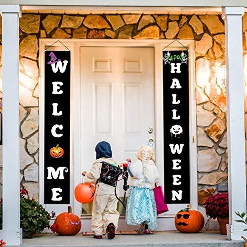FunPa 2 Stück Halloween Dekoration Hängen Banner Zeichen für Zuhause Indoor Outdoor wasserdichte Halloween Veranda Zeichen für Büro Hof Wand Tür Party Dekoration Festival Supplies (Für Halloween-zeichen Hof)