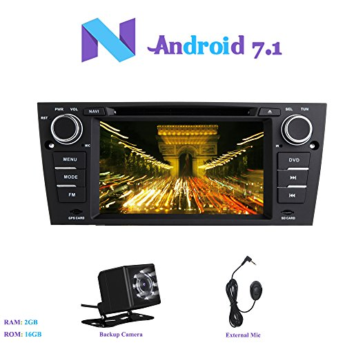 Car Stereo 7 Inch Android 7.1 MP5 Player GPS Navi RDS AM FM Radio BT WiFi Black