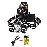 Glighone Lampada da Testa Ricaricabile T6 LED 6000LM Lampada da Campeggio Impermeabile per Pesca Corsa Campeggio Bicicletta Trekking