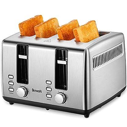 Brewsly-Toaster-Automatik-Toaster-Defrost-Funktion-Wrmeisolierendes-Gehuse-4-Brotscheiben-und-7-Brunungsstufen-Herausziehbare-Krmelschublade-Glatter-Edelstahl