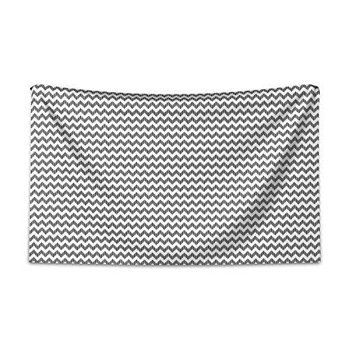 ABAKUHAUS Schwarz und weiß Wandteppich und Tagesdecke, Chevron-Muster aus Weiches Mikrofaser Stoff Kein Verblassen Klare Farben Waschbar, 230 x 140 cm, Weiß Schwarz (Tagesdecke Chevron Weiß Schwarz Und)