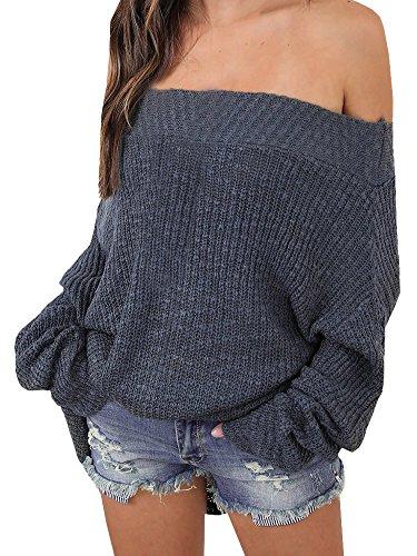 Minetom Donna Maglione In Maglia Pipistrello Maniche Lunghe Maglietta Pullover Casual Elegante Sexy Collo Obliquo Chic Tops Bluse Allentato Grigio