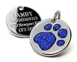 Personalised Engraved 25mm Glitter Blue Paw Print Dog Pet ID Tag Disc.......TO LEAVE ENGRAVING DETAILS PLEASE READ PRODUCT DESCRIPTION LOWER DOWN THIS PAGE.