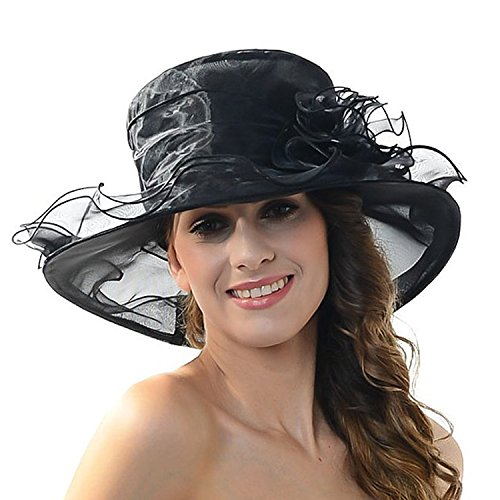 Femmes Mesdames Bohemia Chapeau de papyrus souple/motif floral en organza église Kentucky Derby mariage/pliable Large bord chapeau de soleil d'été pour plage voyage Noir - Noir