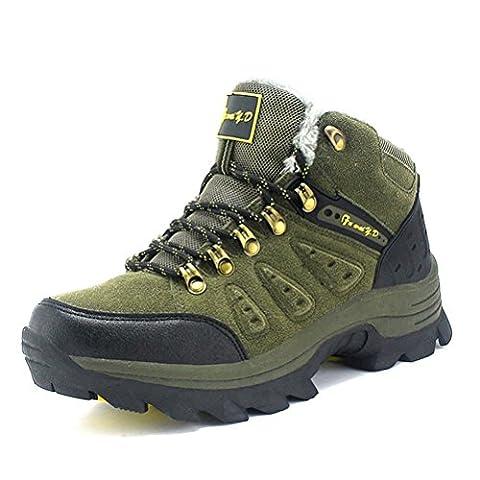 Hommes femmes bottes de randonnée en cuir véritable chaussures de trekking haut de gamme masculines automne féminin et hiver gardent le chaud plus cramêre randonnée en plein air trekking escalade bottes de marche , green , 42