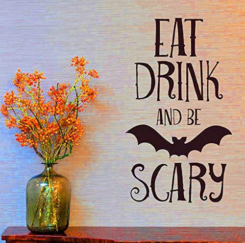 Finloveg Essen Trinken Be Scary Zitate Wandaufkleber Halloween Party Decals Home Raumdekoration Abnehmbare Diy Wandaufkleber (Kindergarten Halloween-party-essen Für)