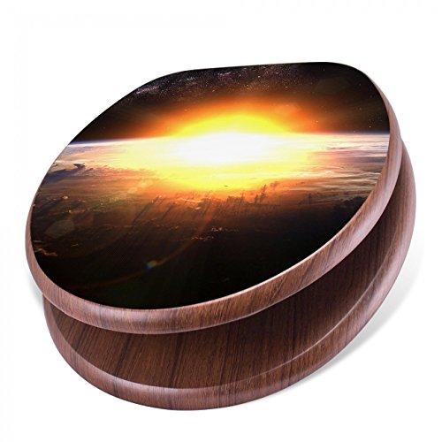 BANJADO Design Toilettensitz mit Absenkautomatik, WC-Sitz Holz, Klodeckel mit Metall Scharnieren, Toilettendeckel mit Motiv Sonne im Weltall