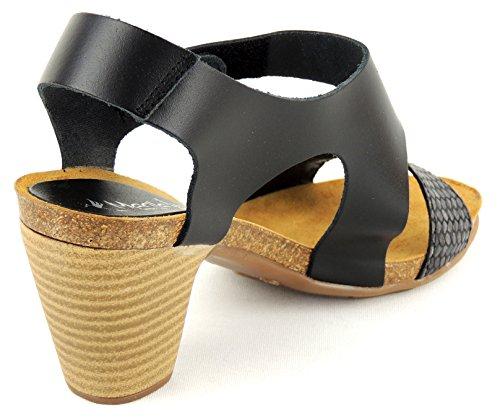 MARILA Damen Sandalette komplett Leder schwarz gepolstert KLETT negro