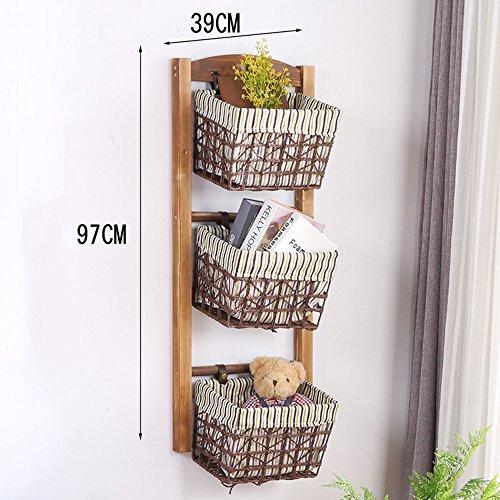 XIA Regal-Landungs-Wohnzimmer-Speicher-Korb-festes Holz-Rattan-hängender Korb-Haushalts-mehrschichtiges ländliches entfernbares Tuch 4 Schichten 3 Schichten 2 Schicht ( Farbe : A , größe : 3 layers ) (2 Rattan-speicher-körbe)
