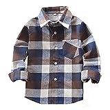 HAOKTY Jungen Mädchen Langarm Hemden Plaid Kariert Freizeithemd Tops Baumwolle Sweat Shirt (Color 3, 140)