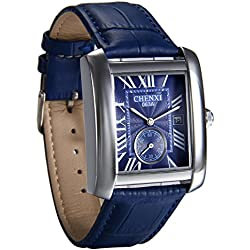 ontre Homme Avaner Montre Bracelet Style Rétro Cadran Chiffres Romains Montre de Plongée - Afficahge Analogique -Bracelet en Cuir Bracelet Montre (Bleu)