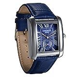 Avaner Reloj Azul de Hombre Caballero Reloj Cuadrado Correa de Cuero, Dial Azul Reloj de Pulsera Analógico Cuarzo, Retro Vintage