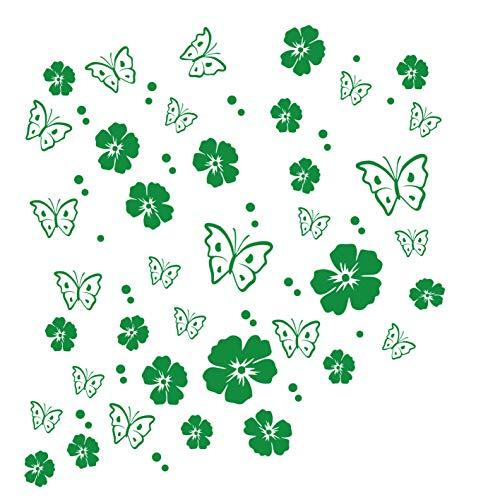 Grünes Glas-türen (kleb-drauf® | 19 Blüten, 19 Schmetterlinge und 42 Punkte | Grün - glänzend | Wandtattoo Wandaufkleber Wandsticker Aufkleber Sticker | Wohnzimmer Schlafzimmer Kinderzimmer Küche Bad | Deko Wände Glas Fenster Tür Fliese)