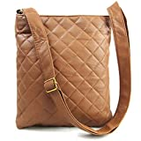 Xardi London Tan Medium Lightweight Soft Quilted Faux Leather Cross Body Bag For Women Black Tan Beige Over Shoulder Ladies Handbags with Long Adjustable Strap