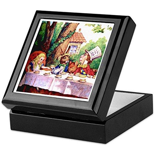Mad Hatter 's Tea Party–Keepsake Box, fertig Hartholz Jewelry Box, Samt Gefüttert Memento Box schwarz ()