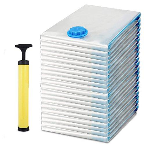 BATHWA 20 Set Vakuumbeutel Aufbewahrungsbeutel Kleiderbeutel Vakuum-Platzsparer für Betten und Kleidung in 3 verschiedenen Größen 40 x 60 cm , 60 x 80 cm und 80 x 120 cm