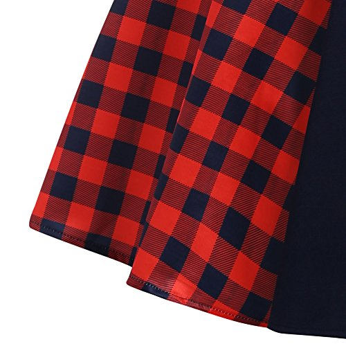 iBaste Vestiti Donna Manica Lunga Elegante Vintage Hepburn Classico Plaid Scozzese Rosso Giuntura Abiti Rosso