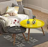 JIE Teetisch, Runder Couchtisch Im Wohnzimmer, Kleiner Beistelltisch Im Schlafzimmer, Runder Mini-Tisch, Kombinationsset,Gelb und grau,70 cm + 50 cm