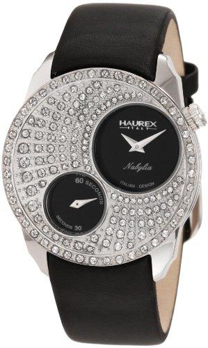 Haurex Italy Nabylia Black Dial Watch #FS359DN1 - Reloj de mujer de cuarzo, correa de piel color negro